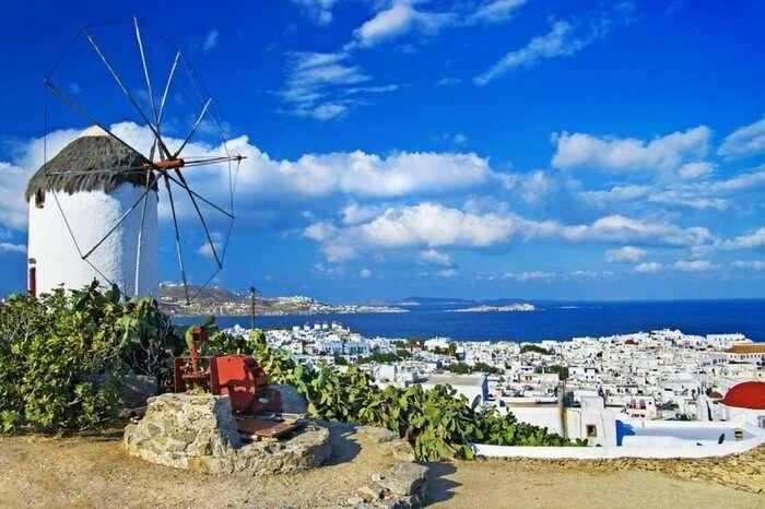 A windmill in Mykonos town in Greece