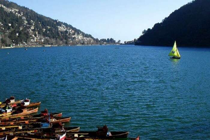 Boats standing on the shore of Mussoorie Lake