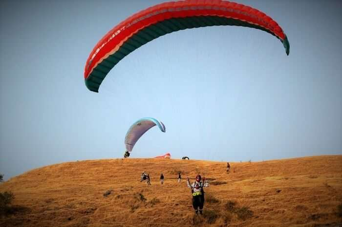 two men paragliding