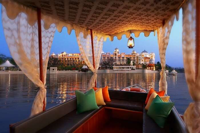 decorated luxury boat in lake