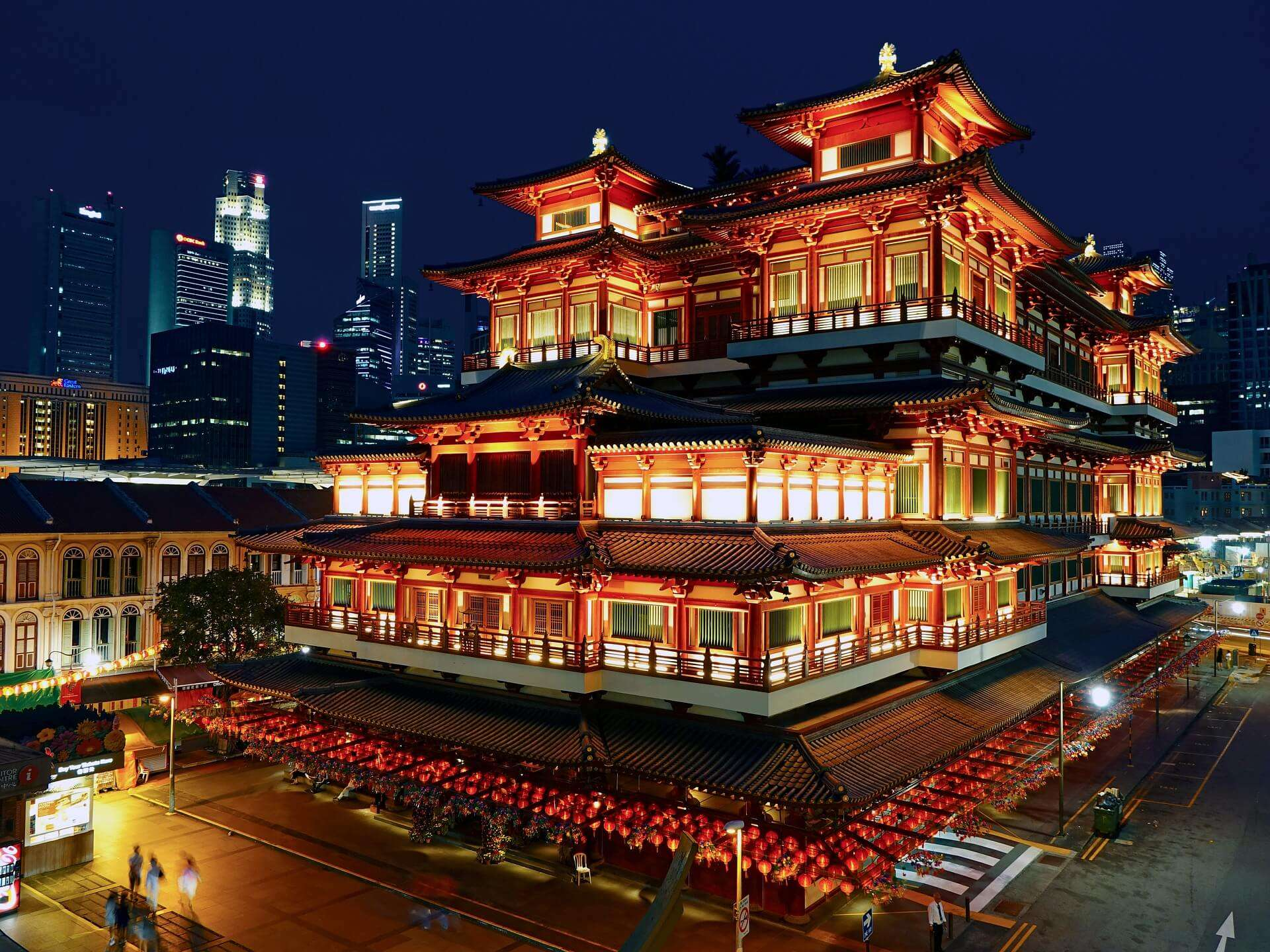 a Chinese style building well lit at night