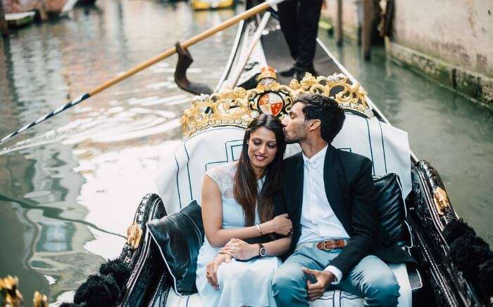 A couple on a Gondola in Venice