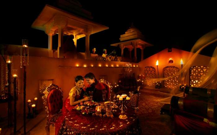 A couple dining in 1135 AD in Jaipur