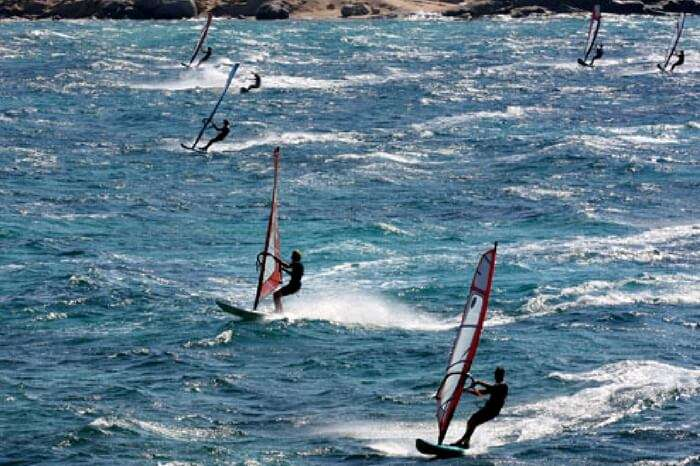 Kite surfing in Naxos in Greece