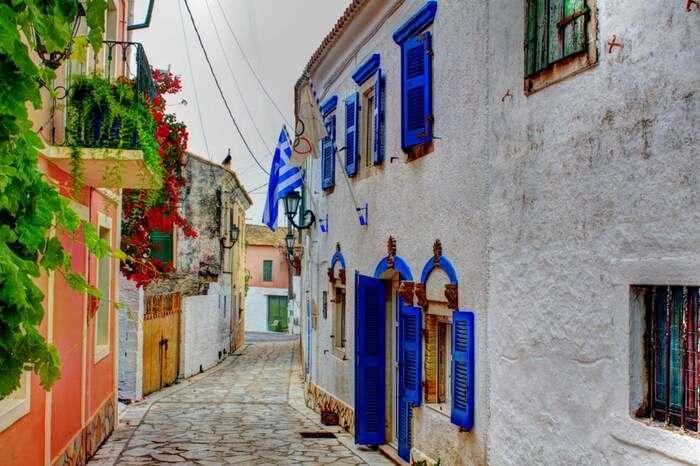 A colourful bylane in Corfu in Greece