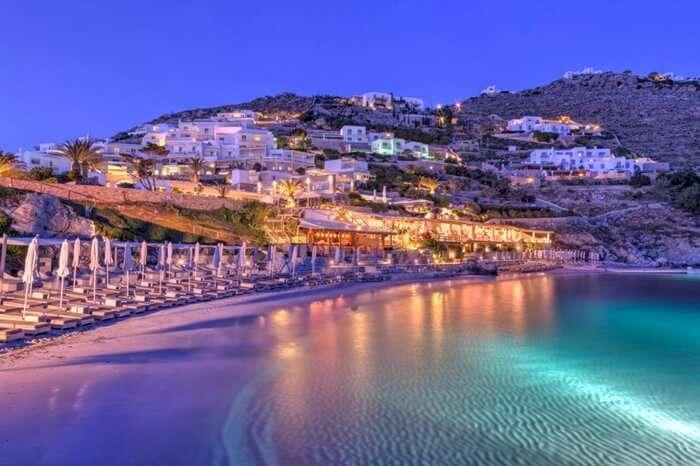 A well lit private beach in Santorini Greece