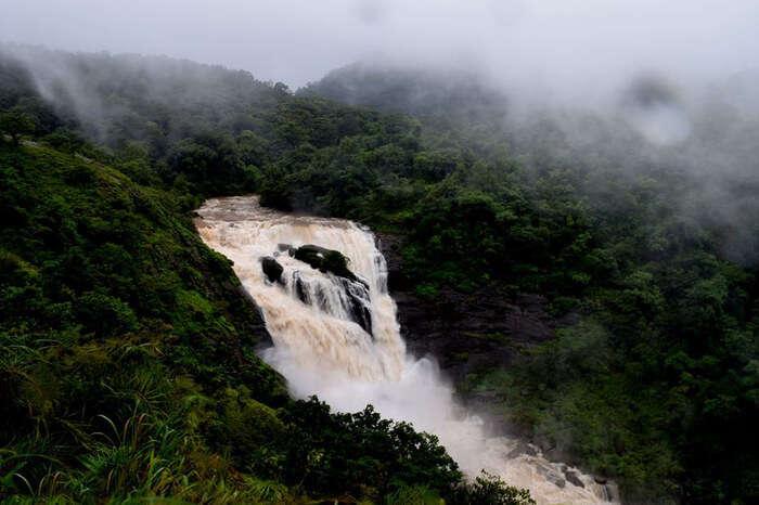 Muddy water of Mallali waterfall in Coorg Karnataka