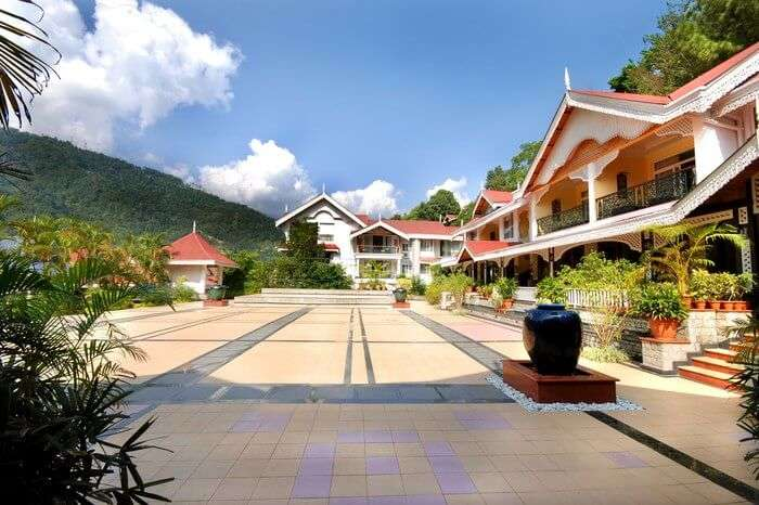 Orange Village Resort premises surrounded with clouds