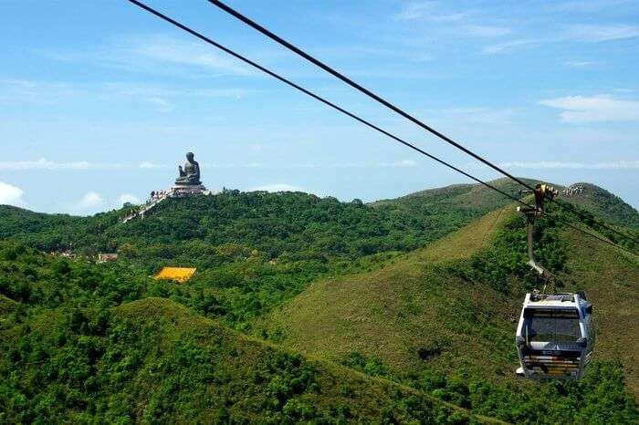 cable car to reach The Big Buddha