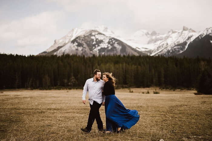 Honeymooning couple in Banff, Alberta