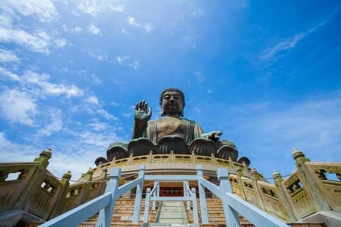 Big Buddha statue in Lantau Island in Hong Kong