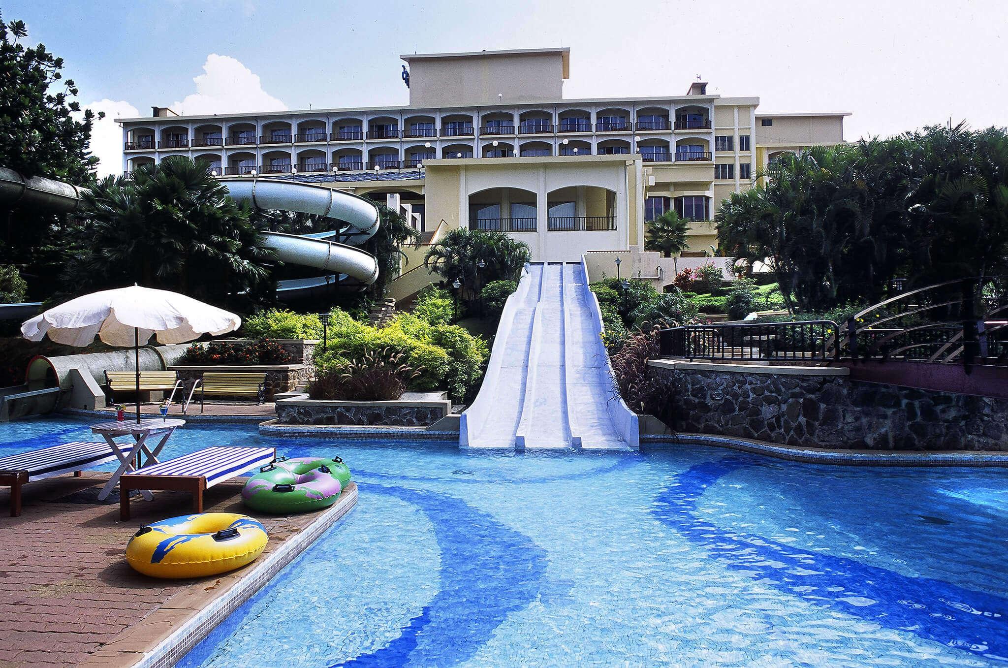 a water slider in a resort