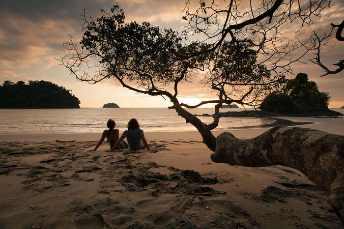 Couple watching sunset in Costa Rica