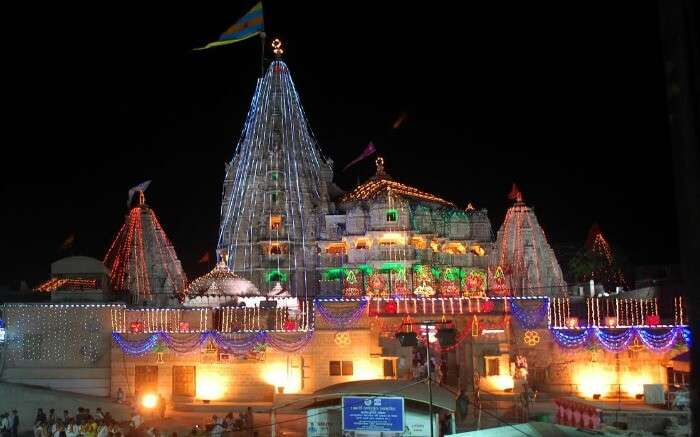 Ambaji Temple of Gujrat decorated with colourful lights