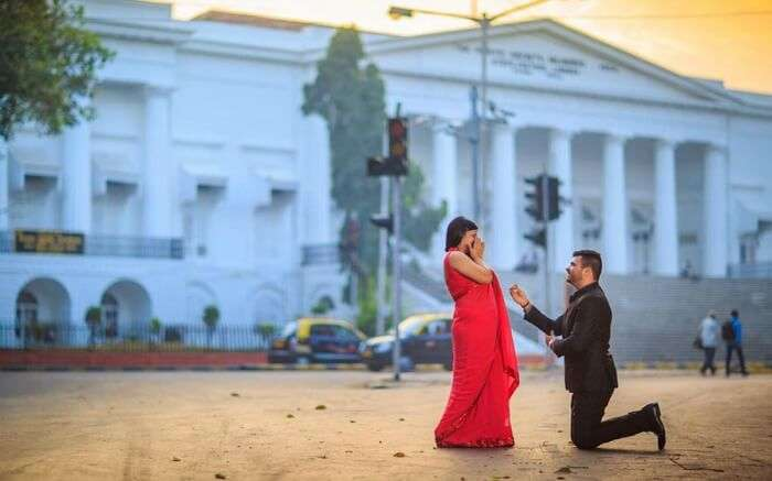 A couple in front of Asiatic Library