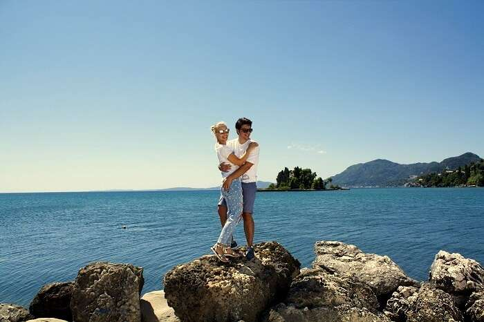 Couple on romantic island in europe