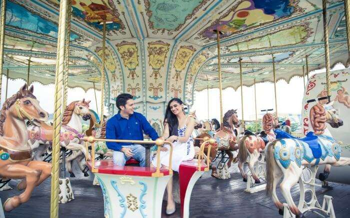 Shot of a couple in Imagica Theme Park