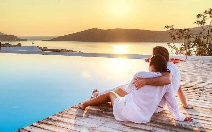 A couple watching sunset
