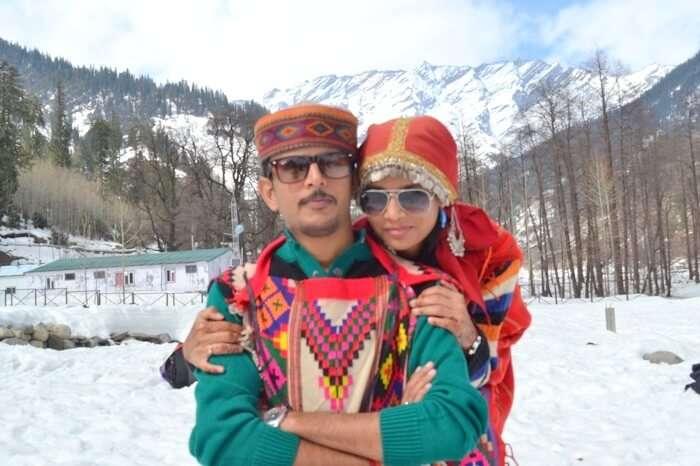 dressing up in himachali dress