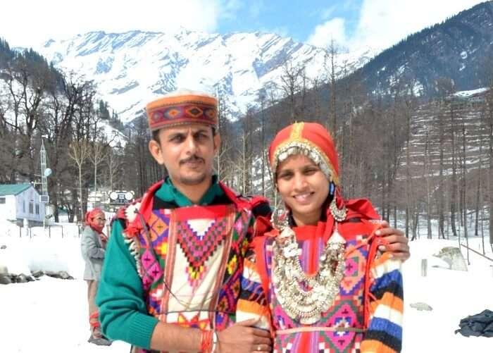 posing in himachali attire