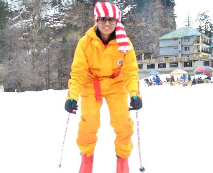 learning skiing in himachal