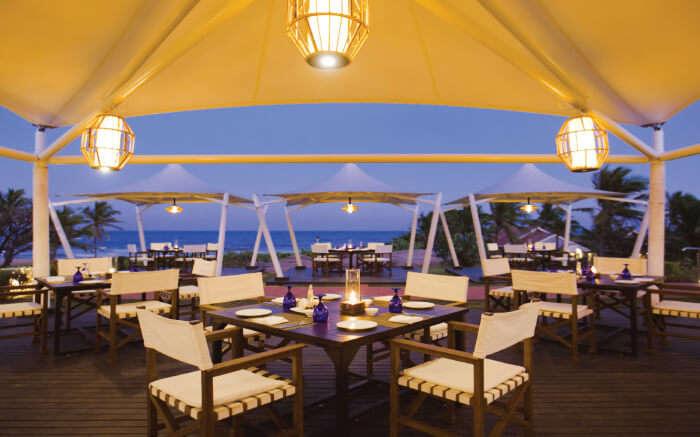 Fancy dining area of Upper Deck by the sea in Vivanta in Kobala SS28042017