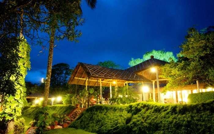 Hotel Carmelia Haven garden at night