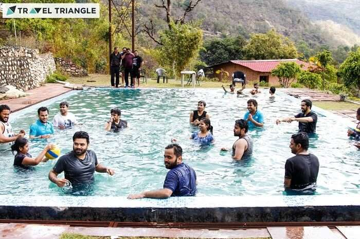 Nice resort pool in Rishikesh