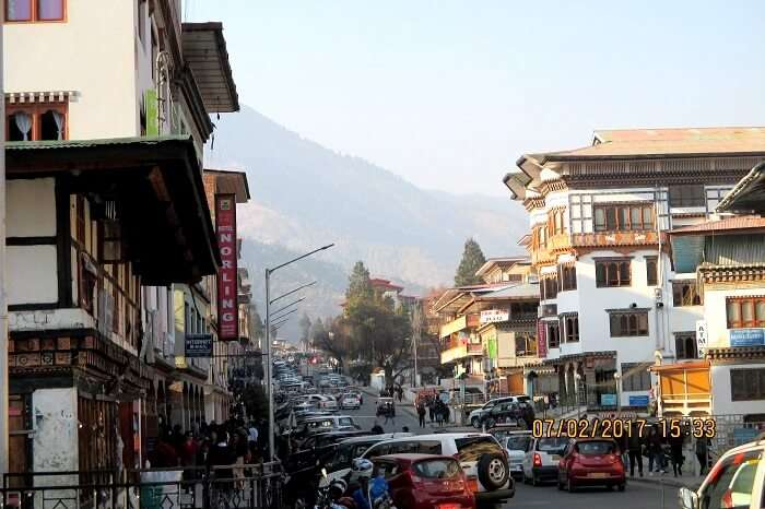 mountains in the backdrop in bhutan