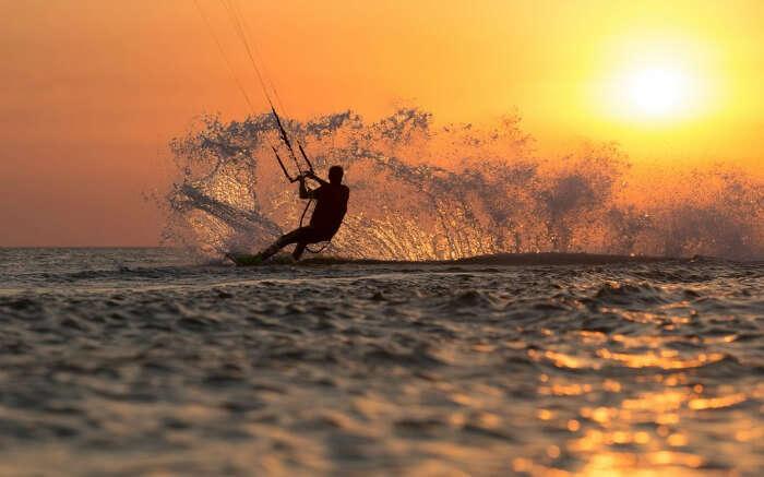 A person kitesurfing in Bali