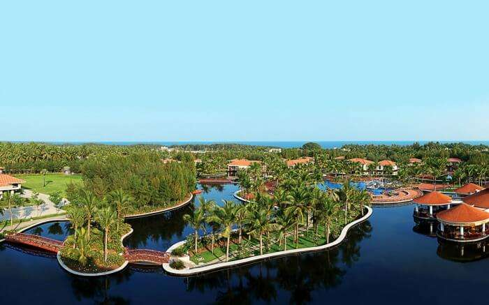 Lush green surroundings of Ocean Spray Beach Resort in PondicherrySS22042017