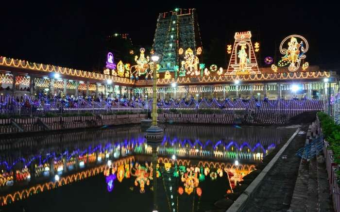Meenakshi temple decorated with lights