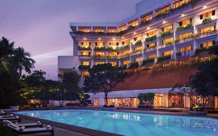 Pool side view of Taj Bengal