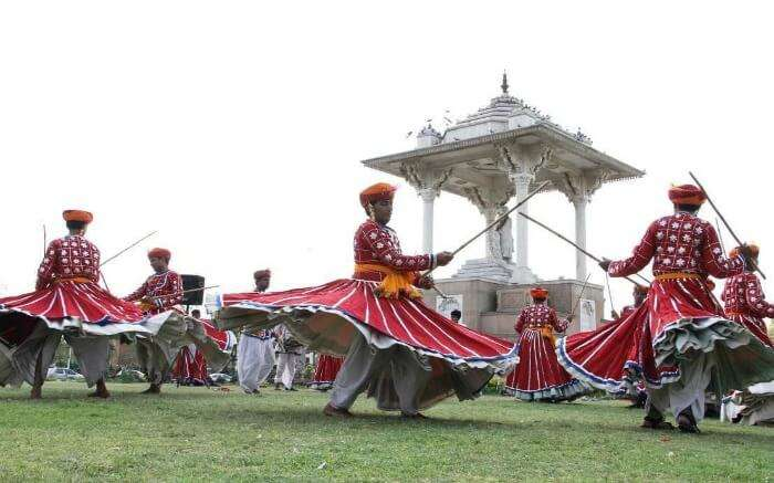 Rajasthani men performing in Mount Abu