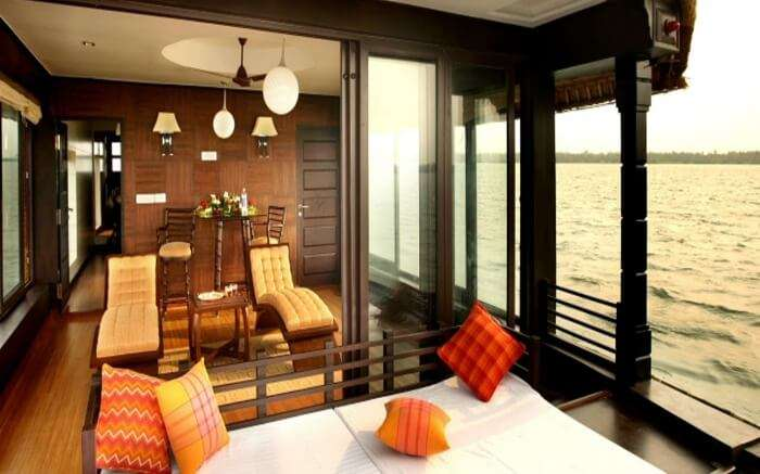 Recliner with front deck view of Rainbow Cruises in Alleppey