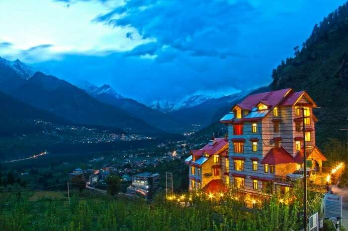 A romantic hotel in a valley in Shimla