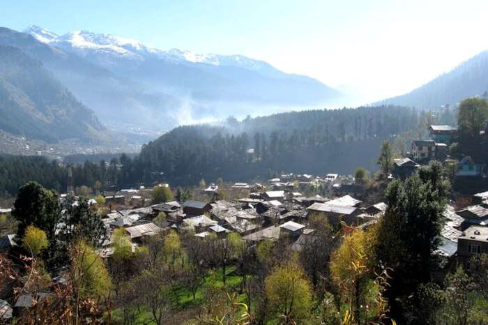 Top view of a settlement in Manali