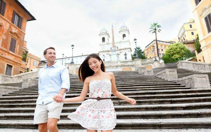 A couple on Spanish Steps