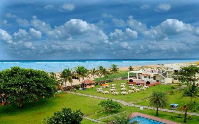 Top view of St James Beach Resort by the sea in Pondicherry