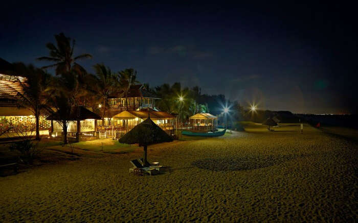 Well lit dining spaces by the sea beach at Sea Crest in MGM Resort in Chennai