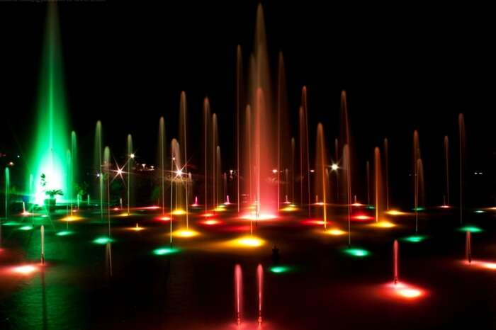 Musical fountain all lit up in Brindavan Gardens in Mysore