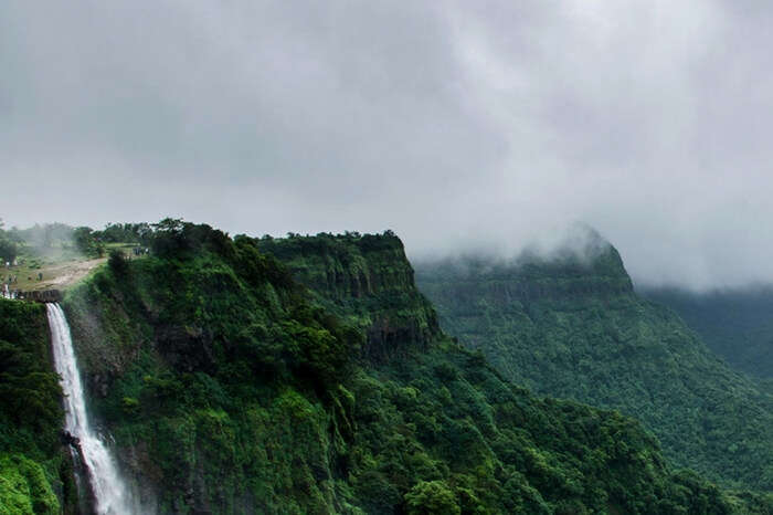 Valley in Amboli with clouds floating over it during monsoon