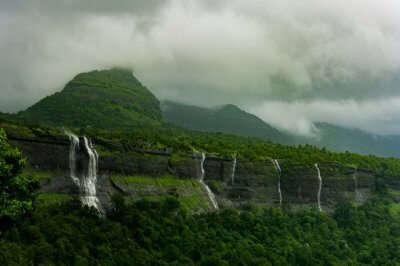 Strams of waterfall gushing down the mountains in Bhimashankar