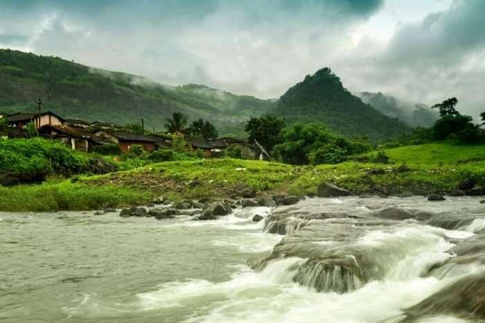 View of a flowing stream in Durshet in Khopoli