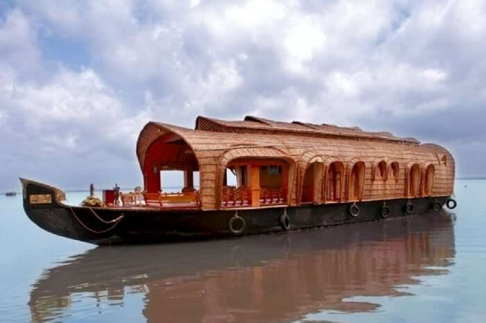 A view of Paradise houseboat in Kumarakom on a cloudy day