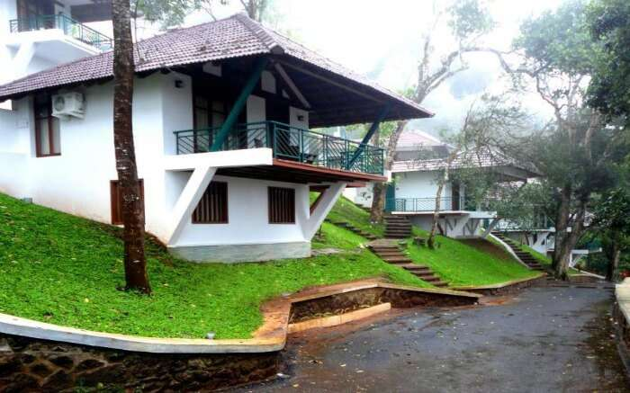 green lawns of Forest Canopy hotel in Thekkady