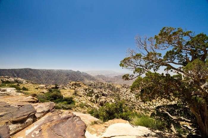 The vast expane of Dana Biosphere Reserve located in Jordan