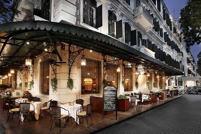 The outdoor dining at Sofitel Legend Metropole in Vietnam