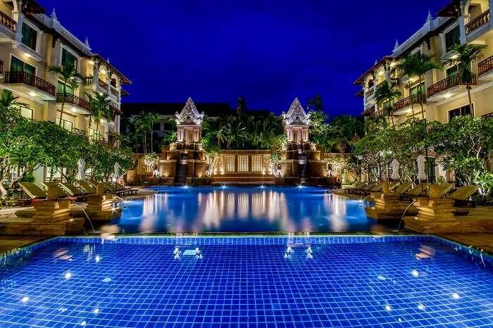 A shot of the swimming pool at the Sokha Angkor Resort in Cambodia