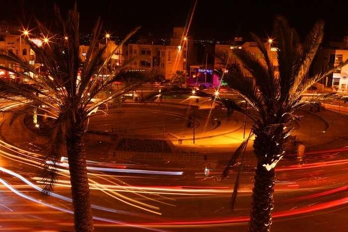 A night snap of the city of Amman in Jordan